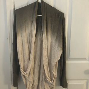 DKNY olive beige ombré open front cardigan